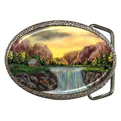 Brentons Waterfall - Ave Hurley - ArtRave - Belt Buckle (Oval)