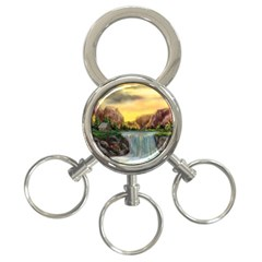 Brentons Waterfall - Ave Hurley - ArtRave - 3-Ring Key Chain