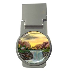 Brentons Waterfall - Ave Hurley - ArtRave - Money Clip (Round)