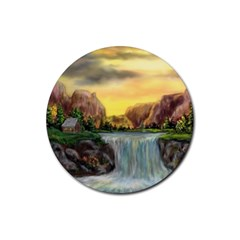 Brentons Waterfall   Ave Hurley   Artrave   Drink Coaster (round)