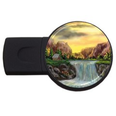 Brentons Waterfall - Ave Hurley - ArtRave - 1GB USB Flash Drive (Round)