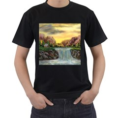 Brentons Waterfall - Ave Hurley - ArtRave - Mens' Two Sided T-shirt (Black)