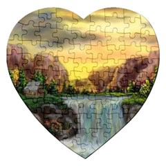 Brentons Waterfall   Ave Hurley   Artrave   Jigsaw Puzzle (heart)