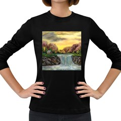 Brentons Waterfall   Ave Hurley   Artrave   Womens' Long Sleeve T Shirt (dark Colored)
