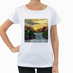 Brentons Waterfall - Ave Hurley - ArtRave - Womens' Maternity T-shirt (White)