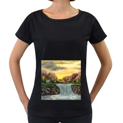 Brentons Waterfall - Ave Hurley - ArtRave - Womens' Maternity T-shirt (Black)