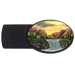 Brentons Waterfall   Ave Hurley   Artrave   4gb Usb Flash Drive (oval)