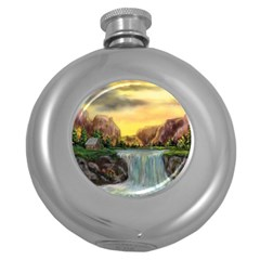 Brentons Waterfall - Ave Hurley - ArtRave - Hip Flask (Round)