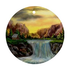 Brentons Waterfall   Ave Hurley   Artrave   Round Ornament (two Sides)