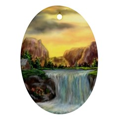Brentons Waterfall - Ave Hurley - ArtRave - Oval Ornament (Two Sides)