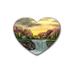 Brentons Waterfall   Ave Hurley   Artrave   Drink Coasters 4 Pack (heart)
