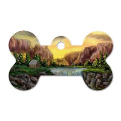 Brentons Waterfall - Ave Hurley - ArtRave - Dog Tag Bone (Two Sided)
