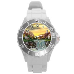 Brentons Waterfall - Ave Hurley - ArtRave - Plastic Sport Watch (Large)