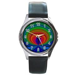 Design Round Leather Watch (Silver Rim)