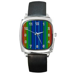 Strips Square Leather Watch