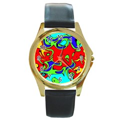 Abstract Round Leather Watch (Gold Rim)
