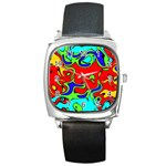Abstract Square Leather Watch Front