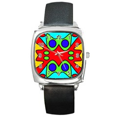 Abstract Square Leather Watch