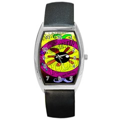Abstract Tonneau Leather Watch