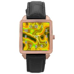 Abstract Rose Gold Leather Watch