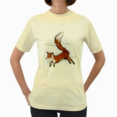 Riding the great red fox  Womens  T-shirt (Yellow)
