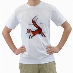 Riding the great red fox Mens  T-shirt (White)