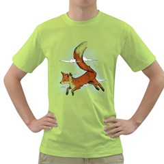 Riding the great red fox Mens  T-shirt (Green)