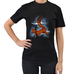 Riding the great red fox Womens' Two Sided T-shirt (Black)