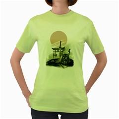Good by samurai Womens  T-shirt (Green)