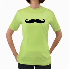 Moustache Womens  T-shirt (Green)