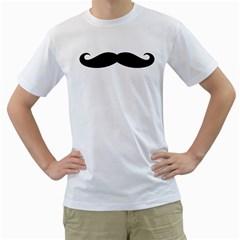 Moustache Mens  T-shirt (White)