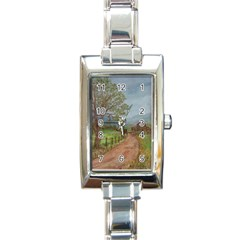 Amish Buggy Going Home  by Ave Hurley of ArtRevu ~ Rectangle Italian Charm Watch