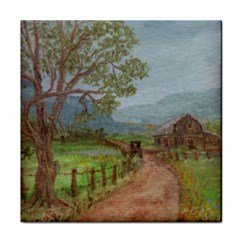 Amish Buggy Going Home  by Ave Hurley of ArtRevu ~ Tile Coaster