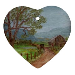 Amish Buggy Going Home  by Ave Hurley of ArtRevu ~ Ornament (Heart)