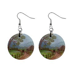 Amish Buggy Going Home  by Ave Hurley of ArtRevu ~ 1  Button Earrings