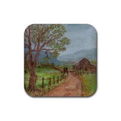 Amish Buggy Going Home  by Ave Hurley of ArtRevu ~ Rubber Coaster (Square)
