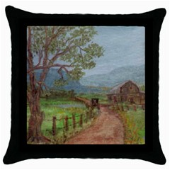 amish Buggy Going Home  By Ave Hurley Of Artrevu   Throw Pillow Case (black)