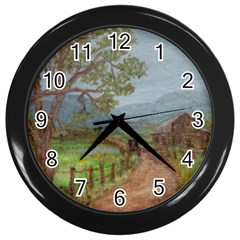 amish Buggy Going Home  By Ave Hurley Of Artrevu   Wall Clock (black)