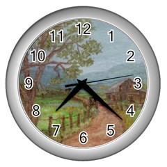 Amish Buggy Going Home  by Ave Hurley of ArtRevu ~ Wall Clock (Silver)