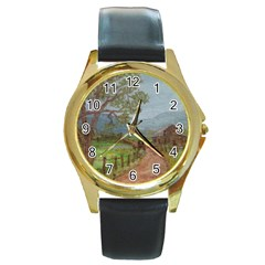 Amish Buggy Going Home  by Ave Hurley of ArtRevu ~ Round Gold Metal Watch