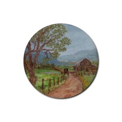 amish Buggy Going Home  By Ave Hurley Of Artrevu   Rubber Coaster (round)