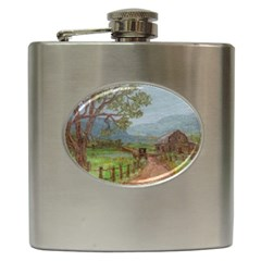 Amish Buggy Going Home  by Ave Hurley of ArtRevu ~ Hip Flask (6 oz)
