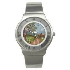 Amish Buggy Going Home  by Ave Hurley of ArtRevu ~ Stainless Steel Watch