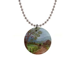 Amish Buggy Going Home  by Ave Hurley of ArtRevu ~ 1  Button Necklace