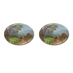 amish Buggy Going Home  By Ave Hurley Of Artrevu   Cufflinks (oval)