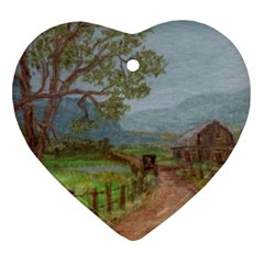 Amish Buggy Going Home  by Ave Hurley of ArtRevu ~ Heart Ornament (Two Sides)