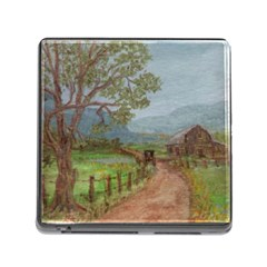 amish Buggy Going Home  By Ave Hurley Of Artrevu   Memory Card Reader (square)