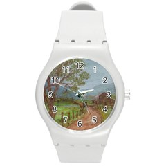 Amish Buggy Going Home  by Ave Hurley of ArtRevu ~ Round Plastic Sport Watch (M)
