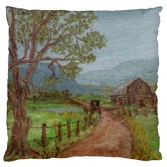amish Buggy Going Home  By Ave Hurley Of Artrevu   Large Cushion Case (one Side)