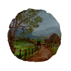 Amish Buggy Going Home  by Ave Hurley of ArtRevu ~ Standard 15  Premium Round Cushion